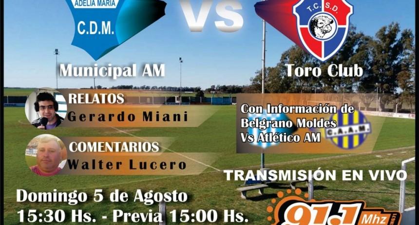 Domingo de fútbol regional por la radio.