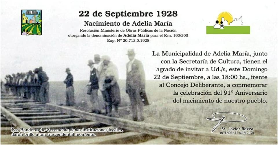 Por primera vez, Adelia María festejará su aniversario el Domingo 22